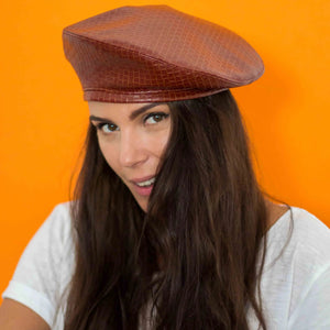 Brick brown vegan leather beret