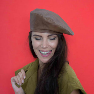 Vintage brown vegan leather beret