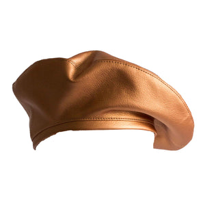 Copper vegan leather beret