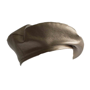 Silver vegan leather beret