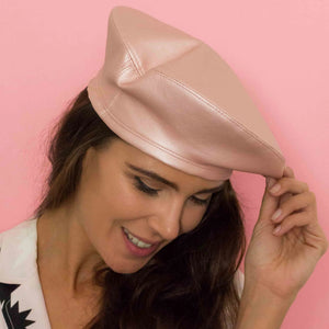 Pearl pink vegan leather beret