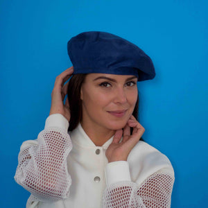 Royal blue vegan suede beret