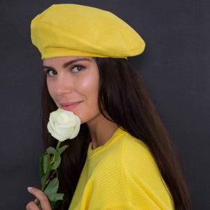 Yellow vegan suede beret