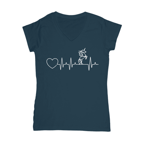 Unicorn Heartbeat  Women's V-Neck T-Shirt Classic