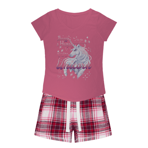 Time to be a Unicorn Girls Sleepy Tee and Flannel Short