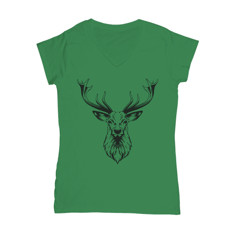 Reindeer with Antlers  Women's V-Neck T-Shirt Classic