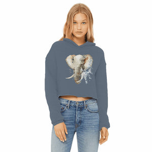 African Elephant Painting Women's Cropped Hoodie
