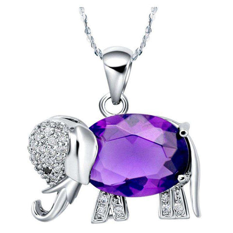 Sterling Silver Zirconia Elephant Pendant Necklace - Green Earth Animals