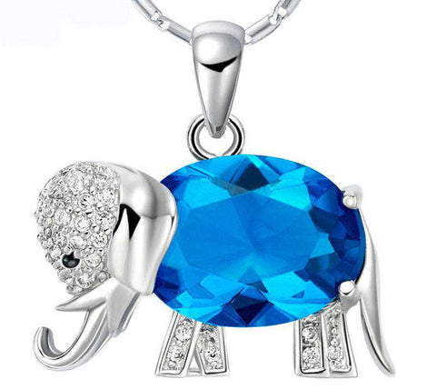 Image of Sterling Silver Zirconia Elephant Pendant Necklace - Green Earth Animals