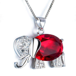 Sterling Silver Zirconia Elephant Pendant Necklace