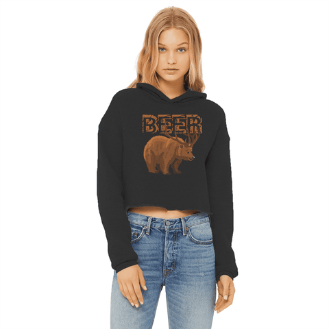 Deer Beer Women's Cropped Hoodie