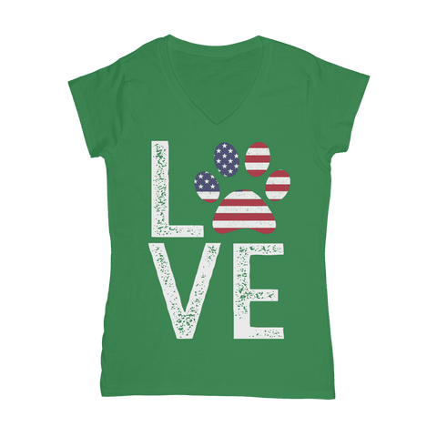 Image of USA Love Paw  Women's V-Neck T-Shirt Classic