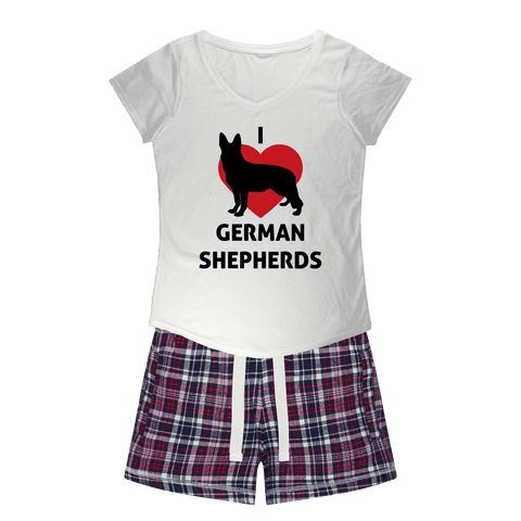 I Heart German Shepherds Girls Sleepy Tee and Flannel Short