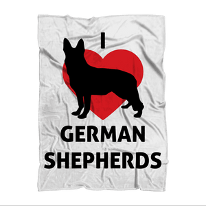 I Heart German Shepherds Blanket Sublimation