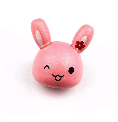 Cute Pink Bunny Wood Pin - Green Earth Animals