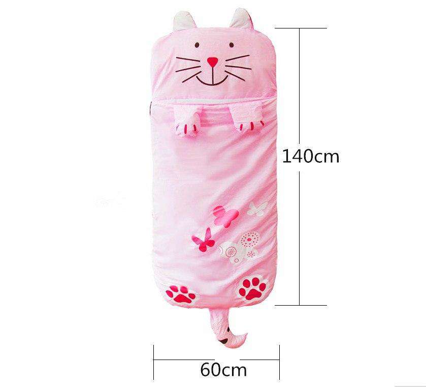 Cute Pink Cat & Butterflies Sleeping Bag