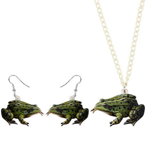 Unique Bullfrog Necklace and Earrings Jewelry Set for Frog Lovers