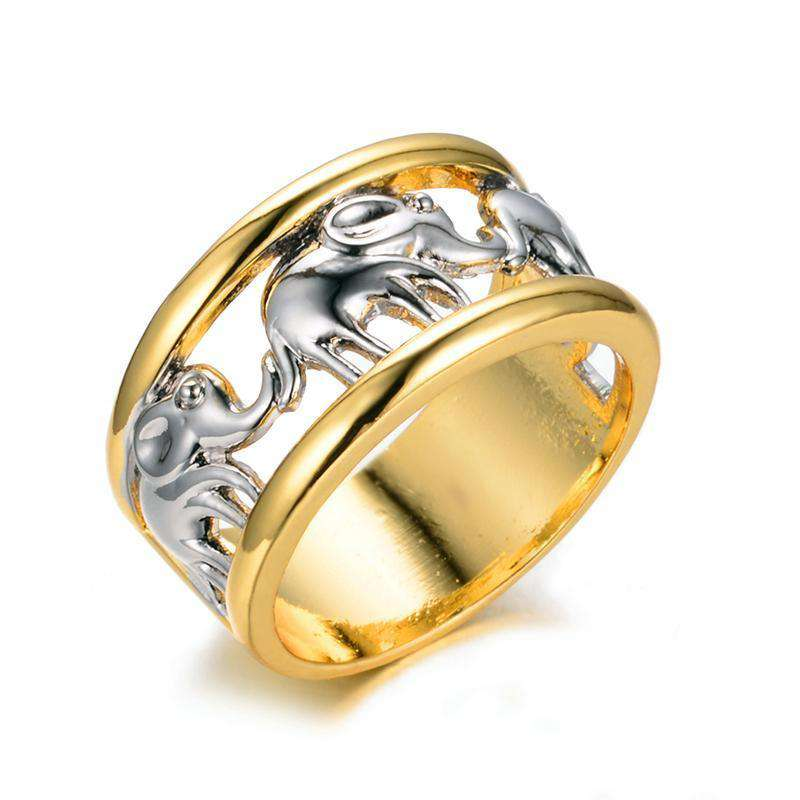 Elephants White Gold Ring - Green Earth Animals