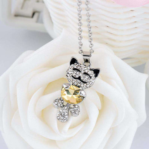 Image of Adorable Cat Crystal Necklace - Green Earth Animals