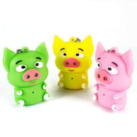 LED Mini Pig Keychain with sound