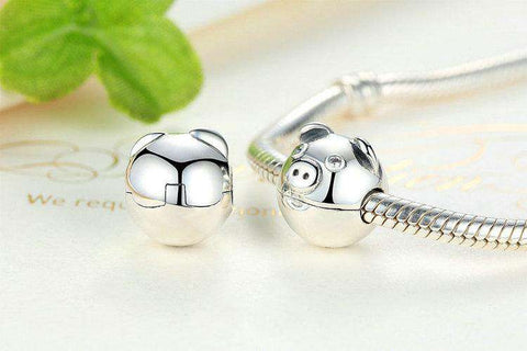 Sterling Silver Pig Charm Clip - Green Earth Animals