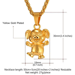 Gold/Stainless Steel Laughing Pig Pendant Necklace