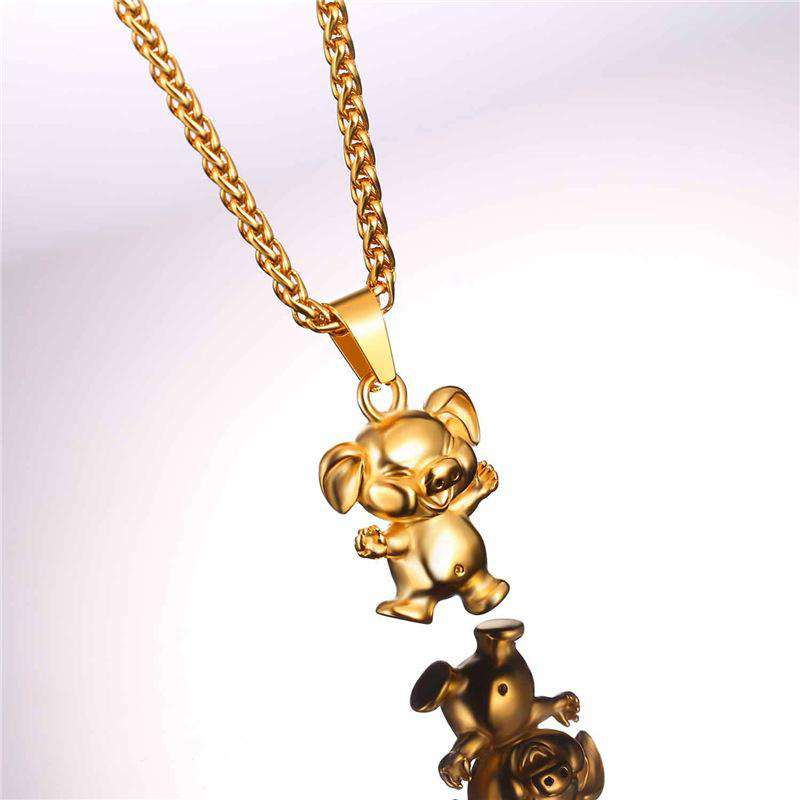 Gold/Stainless Steel Laughing Pig Pendant Necklace - Green Earth Animals