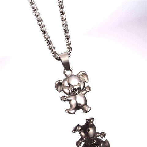 Image of Gold/Stainless Steel Laughing Pig Pendant Necklace - Green Earth Animals