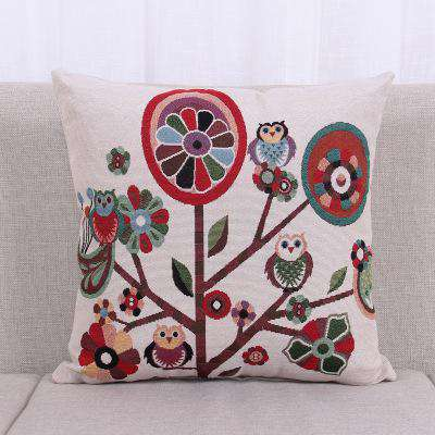 Image of Cotton Linen Owl Throw Pillow Cover - Green Earth Animals
