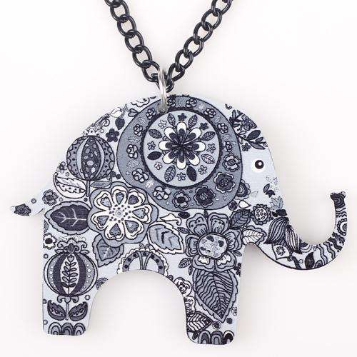 Colorful Acrylic Elephant Necklace - Green Earth Animals