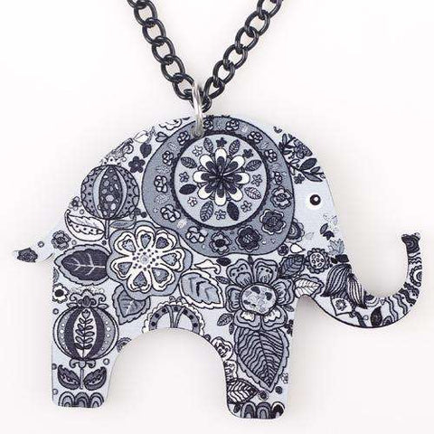 Image of Colorful Acrylic Elephant Necklace - Green Earth Animals