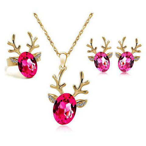 Image of Rhinestone Deer Jewelry Set - Green Earth Animals