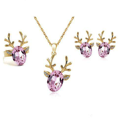 Rhinestone Deer Jewelry Set - Green Earth Animals