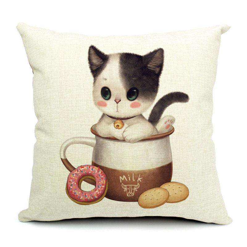 Adorable Cat Cotton Cushion Pillow Covers - Green Earth Animals