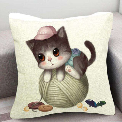 Image of Adorable Cat Cotton Cushion Pillow Covers - Green Earth Animals