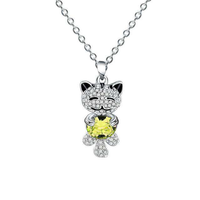 Adorable Cat Crystal Necklace - Green Earth Animals