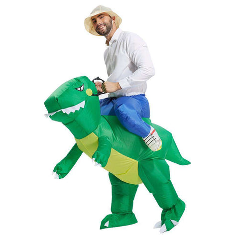 Image of Inflatable Dinosaur Rider Costume - Green Earth Animals
