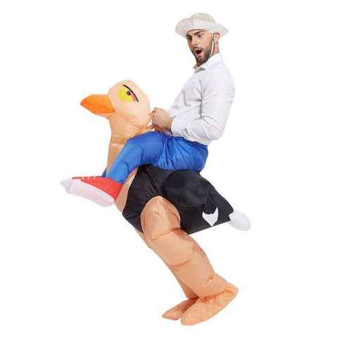 Image of Inflatable Ostrich Rider Costume - Green Earth Animals