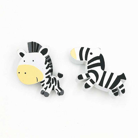 Image of Cute Zebra Natural Wood Brooch Pins - Green Earth Animals
