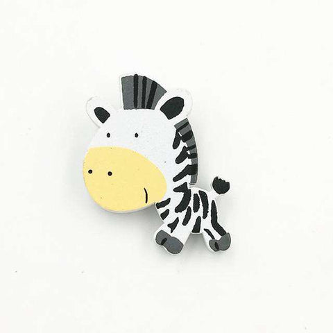 Cute Zebra Natural Wood Brooch Pins - Green Earth Animals