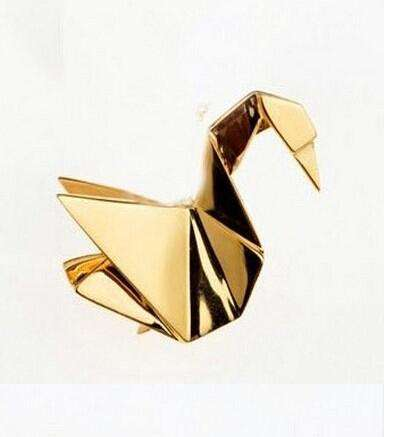 Image of Metal Origami Rabbit Pin - Green Earth Animals
