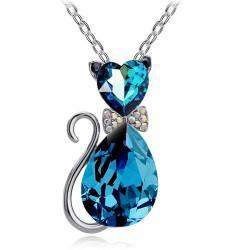 Rhinestone Crystal Cat Pendant Necklaces - Green Earth Animals
