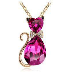 Image of Rhinestone Crystal Cat Pendant Necklaces - Green Earth Animals