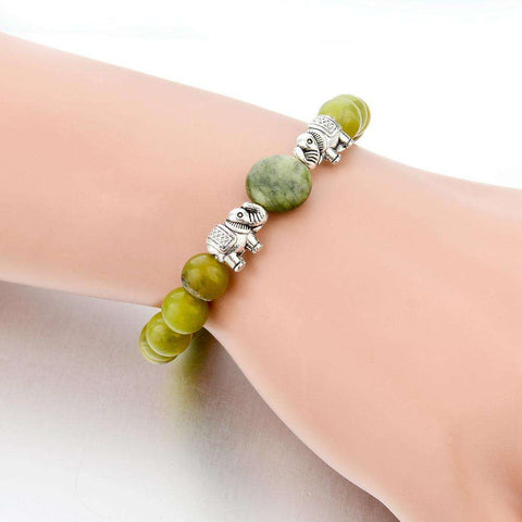 Green Natural Stone Ethnic Elephant Bracelets - Green Earth Animals
