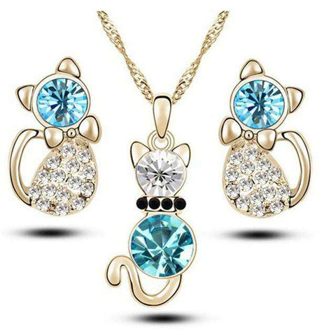 Image of Crystal Kitty Jewelry Set - Green Earth Animals