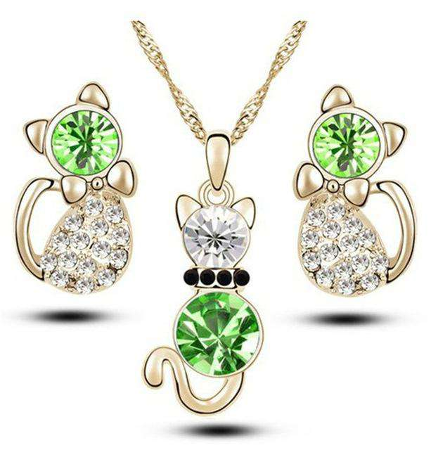 Crystal Kitty Jewelry Set - Green Earth Animals