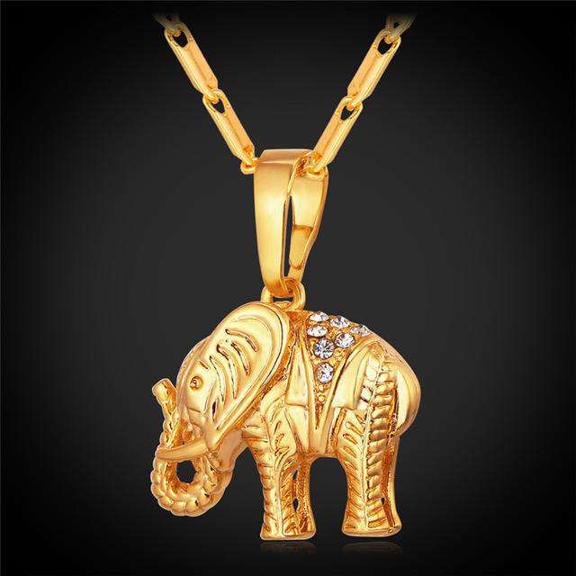 Gold Thailand Elephant Necklace - Green Earth Animals