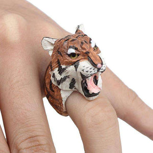 Cute 3D Tiger Ring - Green Earth Animals