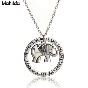Dream Hope Trust Love Elephant Necklace - Green Earth Animals