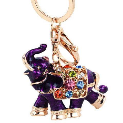 Image of Royal Elephant Crystal Keychain - Green Earth Animals